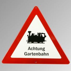 """Emailleschild """"Achtung Gartenbahn"""""""