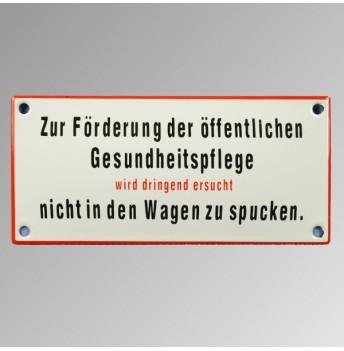 """Emailleschild 17x 18 cm rot """"Zur Förderung ..."""""""