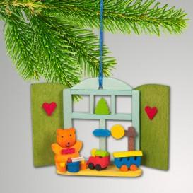 NEU Baumbehang - Weihnachtsfenster Teddy mit Eisenbahn