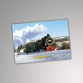 Aufkleber Postkarte Winter Lok 99 785